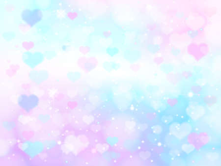 Abstract soft color heart bokeh blurred gradient background