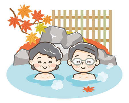 Senior couple enjoying relaxing traditional hot spring onsen bath on vacation 矢量图像