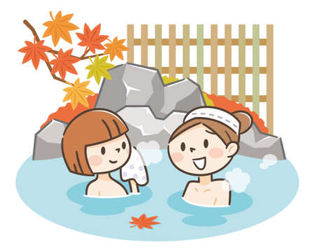 Cute Japanese woman enjoying relaxing traditional hot spring onsen bath on vacation