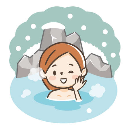 Japanese woman enjoying relaxing traditional hot spring onsen bath on vacation