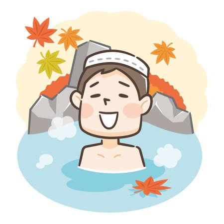 Japanese men enjoying relaxing traditional hot spring onsen bath on vacation