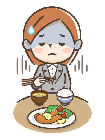 Illustration d'une jeune femme d'affaires anorexique