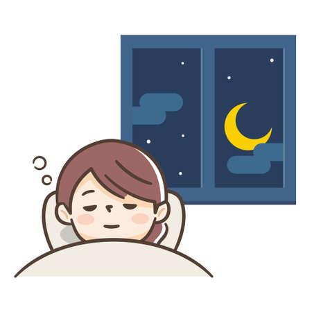 Young woman who sleeps comfortably Illusztráció