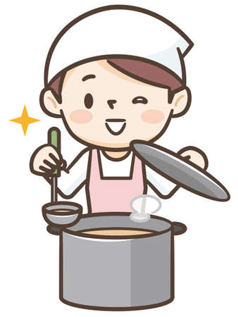 Smiling female cook with saucepan