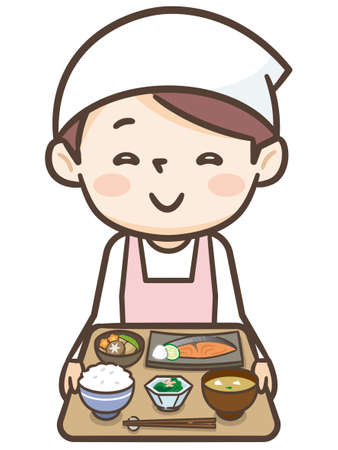 Young cook woman has a dish Illustration