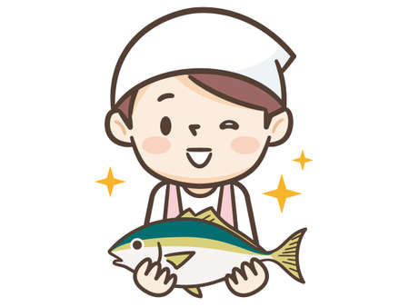 Young cook woman has fresh fish