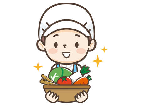 Young cook woman has vegetables Illustration