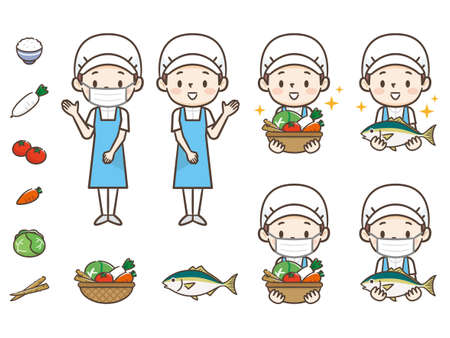 Young cook woman illustration set