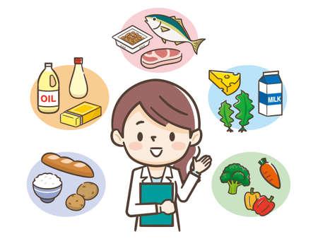 Giovane donna nutrizionista e ingredienti