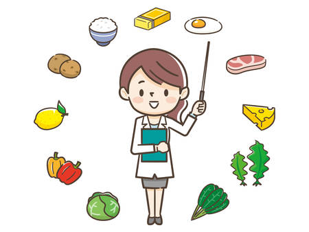 Young nutritionist woman and ingredients
