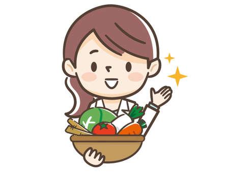 Jeune femme et ingrédients de nutritionniste Vecteurs