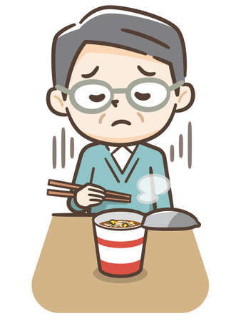 Elderly man eating instant noodles