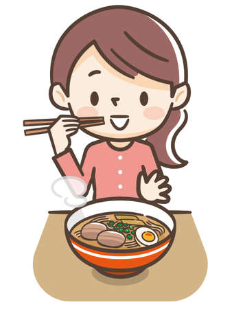 Illustration of a young woman eating ramen