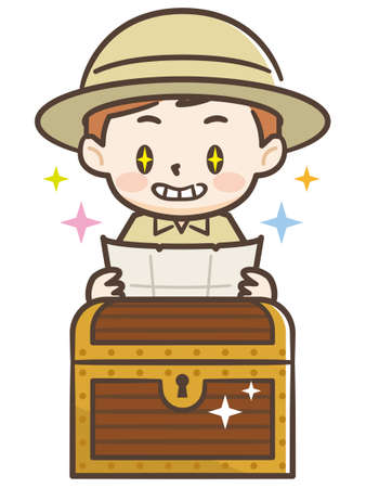 Illustration of a Smiling Boy Discovering a Treasure Chest Illustration