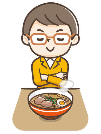 Illustration of a young man eating ramen