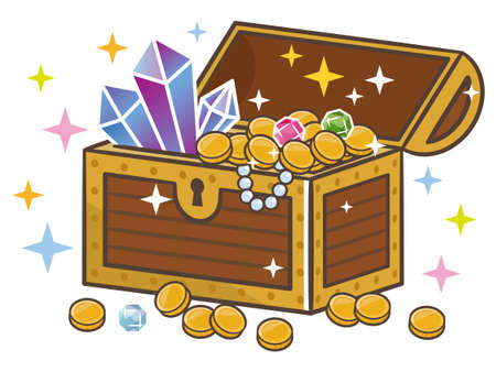Treasure chest and treasure illustration