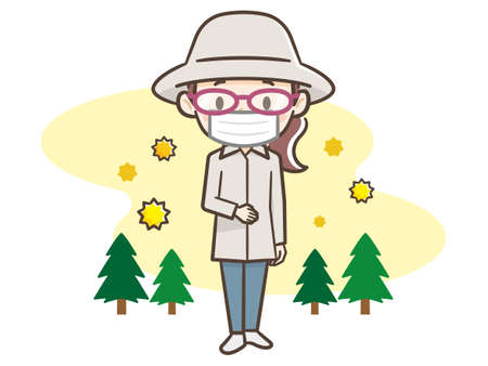 Woman taking measures against hay fever Vectores