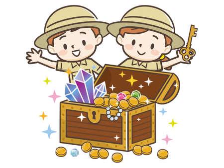 Children who found a treasure chest
