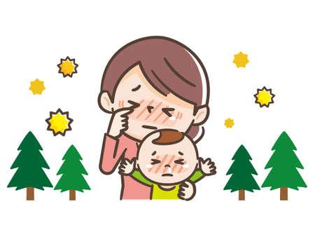 Parents and children suffering from hay fever Ilustração