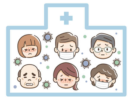 Illustration of infected people in hospital
