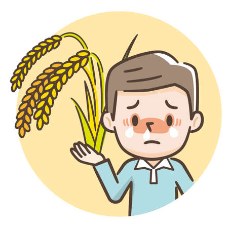 Illustration of a man with hay fever, hay fever