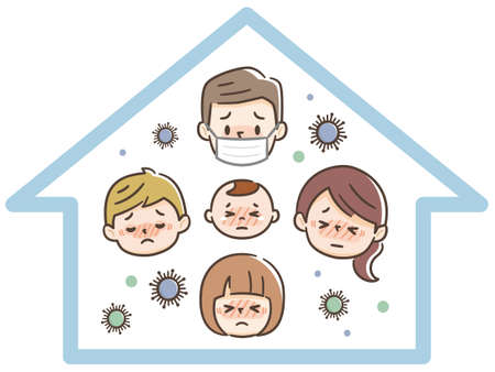 Illustration of a family infected at home