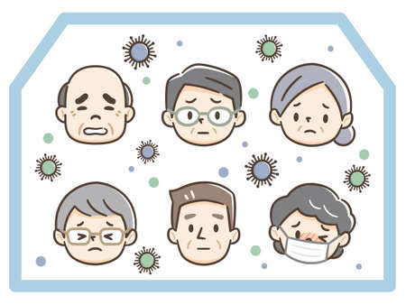 Illustration of elderly people infected at nursing homes