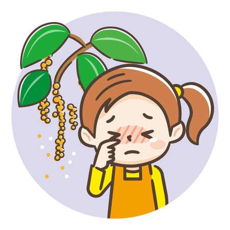 Hay fever girl illustration, alder hay fever Ilustração Vetorial
