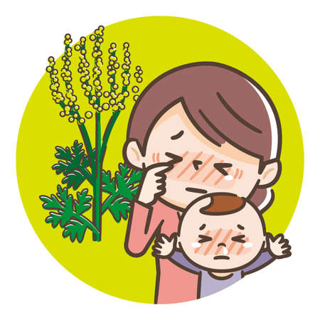 Hay fever parent and child illustration, ragweed hay fever