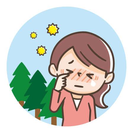 Hay fever woman illustration, cedar hay fever