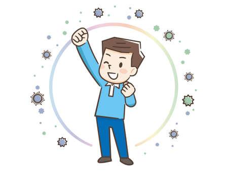 Illustration d'un homme se protégeant du virus