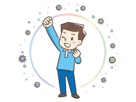 Illustration of a man protecting himself from the virus