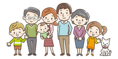Family portrait of three generations parents children and grandchildren on white background stock vector illustration