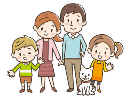 Happy family portrait. Happy family gesturing with cheerful smile. Ilustração