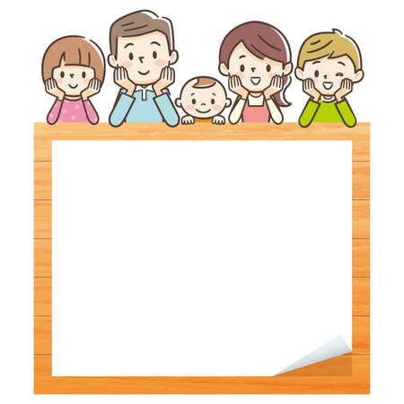 Illustration of happy family with wooden board