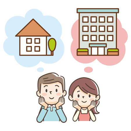 Newlywed couple thinking about buying a detached house or apartment Ilustração