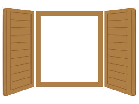 Vector illustration of opened window with white background.