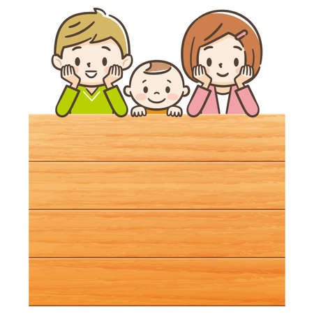 Children with cheeks with smiles. Wooden sign.