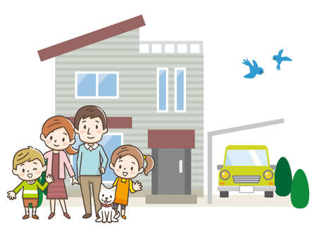 Happy family in front of the house. Ilustração