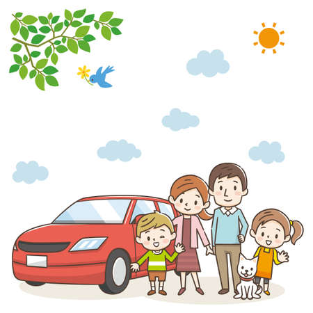 Family standing at the red car. Nature landscape.