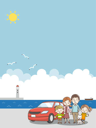 Family standing at the red car. Blue sky and sea background Ilustração