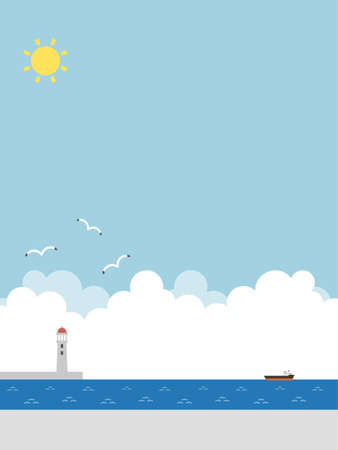 Blue sky and sea background Ilustração