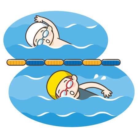 Vector Illustration Of Kid Swimming Ilustração