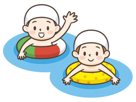 vector illustration of cute little kids swimming with inflatable circle cartoon