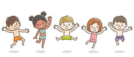 Illustration of kids jumping in swimwear