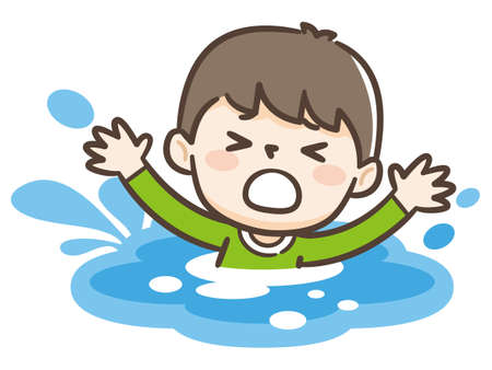 Young boy drowning in water. Emergency situation, accident concept. Vector flat illustration