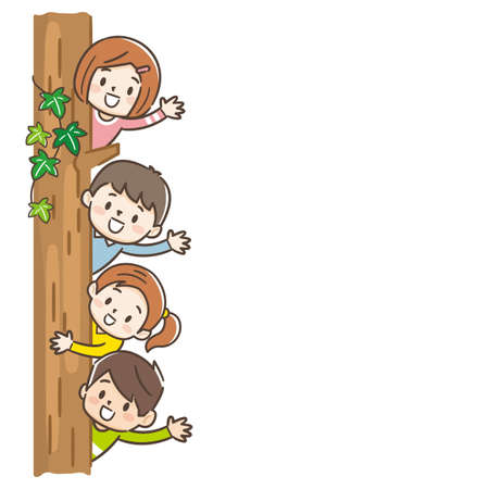 Portrait of happy kids while hiding behind tree trunk