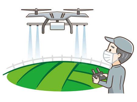 Technician farmer use wifi computer control agriculture drone fly to sprayed fertilizer on the farm Ilustração Vetorial