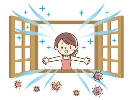 Illustration einer Frau, die ein Fenster öffnet, um zu lüften Vektorgrafik