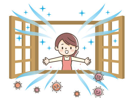 Illustration of woman opening a window to ventilate Vetores